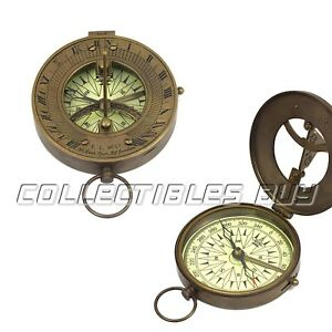 Nautical Brass Pocket Sundial Compass Antique Marine Magnetic Sailor Device Gift