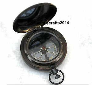 2 Nautical Compass Vintage Marine Navy Working Brass Push Button Compass Item