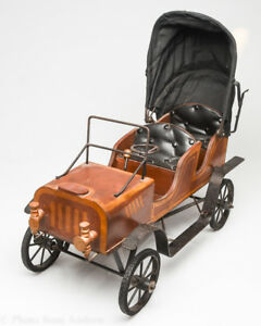 Antique Victorian Automobile Vintage Baby Doll Carriage Buggy Car Wood Rare