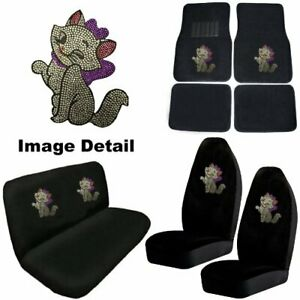 White Kitty W Purple Bow Crystal Studded Rhinestone Floor Mats Seat Covers Combo