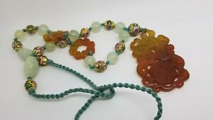 Vintage Carved Double Dragon Nephrite Jade Pendant Bead Necklace Cloisonne Cord
