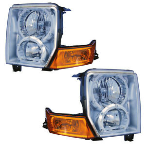 2006 2010 Jeep Commander Driver Passenger Headlights Lamps Assembly Pair Set