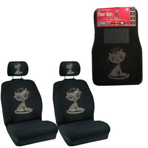 White Kitty W Crown Crystal Rhinestone Floor Mats Low Back Seat Covers Combo