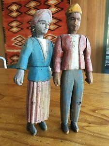 Antique Carved Wooden Folk Art Figures