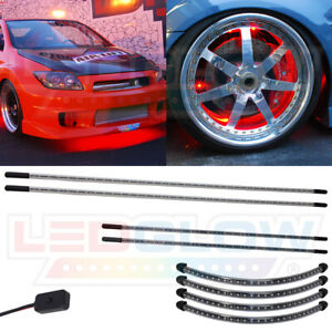 4pc Ledglow Red Slimline Led Underbody Neon Lights W 4pc Wheel Well Fender Kit