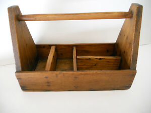 Antique Primitive Wooden Tool Tray Box Tote Carrier Chest Caddy Carpenter Rustic