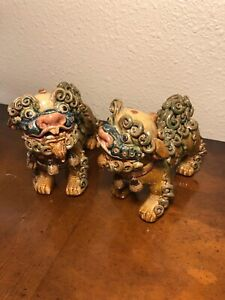 Vintage Chinese Enamel Glazed Sancai Percelain Ceramic Pottery Foo Dog Lions