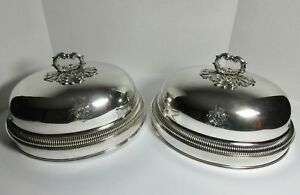 Antique Matthew Boulton Sheffield Marked Pair Meat Domes Crests Armorial 19th C