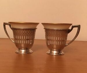 Set 2 Gorham Sterling Silver Pierced Demitasse Cup Holders With Lenox Liners