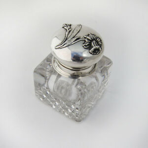 Art Nouveau Inkwell Sterling Crystal Inkwell William Kerr