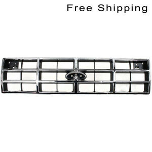 Front Chrome Shell Silver Insert Grille Fits Ford Ranger Bronco Ll Fo1200150