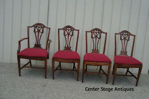 59238 Set 4 Antique Mahogany Dining Chairs Chair S