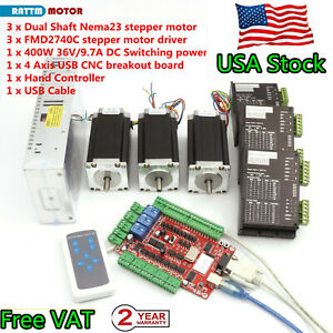 usa 3 Axis Nema 23 Stepper Motor 112mm 425oz 40v 4a Driver Usb Cnc Router Kit