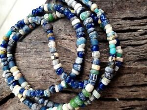 Authentic Ancient Egyptian Faience Mummy Iridescent Glass Beads 600 300 B C