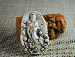 Old China Natural White Jade Hand Carved Guan Yin Statue Pendant H048