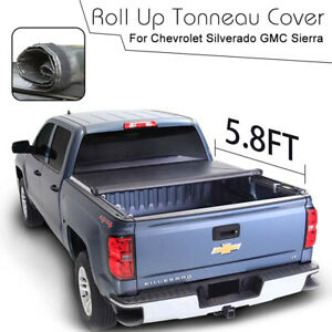 For 2007 2013 Silverado Sierra Roll Up Tonneau Cover 5 8ft Truck Short Bed