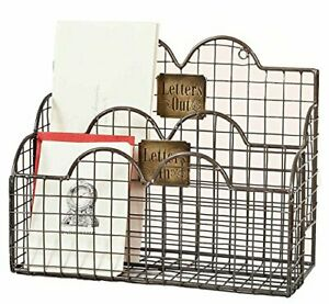 Colonial Tin Works Industrial Galvanized Steel Wire Letter File Desk Organizer
