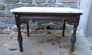Antique Wood W Marble Top Coffee Table