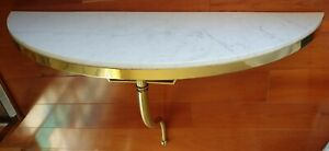Vintage Mid Century Marble Top Brass Console Table And Mirror