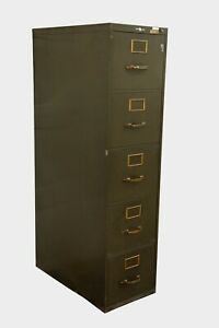 Vintage Art Metal 5 Drawer Legal File Cabinet Brass Hardware Army Green Ny