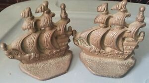 Vintage Cast Iron Bronzed Galleon Ship Book Ends Nautical