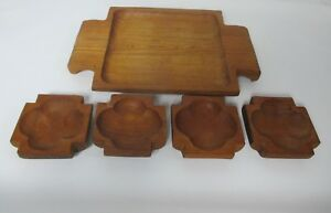 Mid Century Mod Genuine Teak Wood Tray With 4 Leaf Clover Bowls Hand Crafted