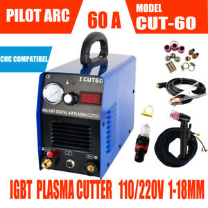 Igbt Pilot Arc Air Plasma Cutter Machine 60a 110 220v cnc Wsd60p 1 18mm