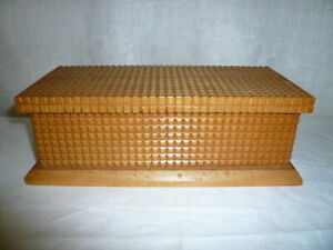 Old Lift Top Wooden Box Trinket Jewelry Decorative Chest