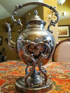 Antique Wm Rogers Silverplate Tilting Tipping Teapot Aesthetic Floral Blossom