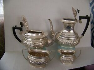 Antique Silver Plate Coffee Tea Set Sheefield Made In England