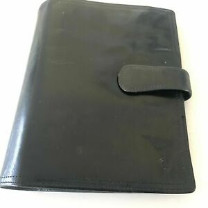 Vintage Franklin Covey Classic Unstructured Black Planner Full Grain Leather
