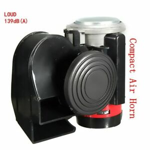 12v 139db Black Snail Compact Dual Air Horn For Car Motorcycle Yacht Boat Truck
