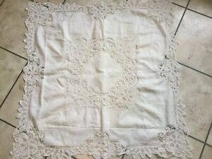 Antique Vintage Large 32 Off White Cotton Pillow Sham With Lace