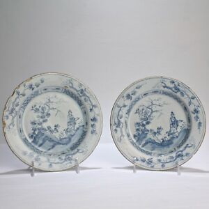 Pair 18c Blue White English Delft Plates W Chinoiserie Landscape Figures Pt