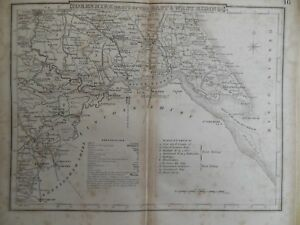 Antiquarian Map Of Yorkshire East West Riding C1820 England Inc Doncaster