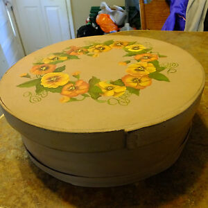 Vintage 15 Round Wood Cheese Box Hand Painted Pansies Floral Lined Inside