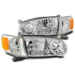 For 2001 2002 Toyota Corolla Chrome Replacement Headlights W corner Signal Lamp