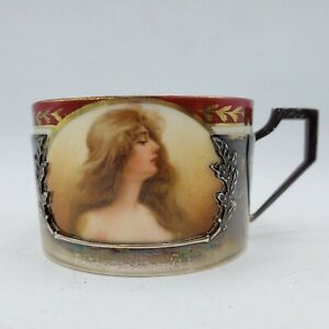 Vintage Royal Vienna Beehive Stamp Cup W Portrait Sterling Silver Insulator