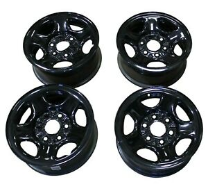 Oem Set Of 4 Black Rims Steel Wheels Chevy Tahoe Police Pursuit Vehicle 05 06