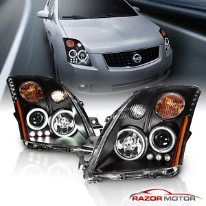 Dual Ccfl Halo For 2007 2008 2009 Nissan Sentra Ccfl Projector Headlights Pair
