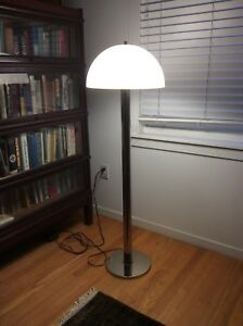 Vintage Mid Century Modern Chrome Mushroom Floor Lamp Light