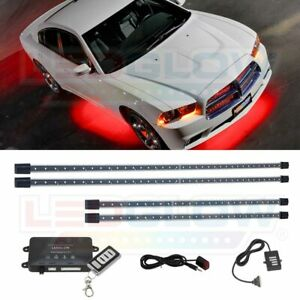 Ledglow 4pc Red Underglow Underbody Car Led Neon Light Kit W Wireless Remote