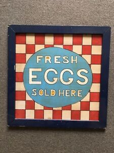 Vintage Egg For Sale Sign Wooden Hand Made Sign