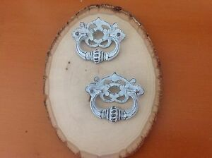 030 Vtg French Provincial Drop Pulls In White Distress Rare Pair Shabby Chic