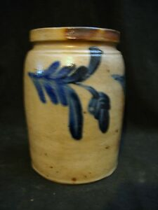 19th C Good Pa Antique Blue Decorated Stoneware Canning Jar