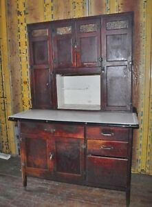 Antique Hoosier Wood Kitchen Cabinet Cupboard Furniture Pantry Food Storage