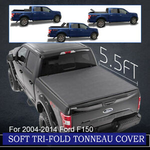 Tonneau Cover Soft Tri Fold Fits 09 14 Ford F150 Pickup Truck 5 5ft Rear Bed New