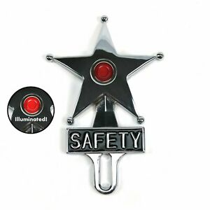 Light Up Red Jewel Vintage Style Safety Star License Plate Topper Hot Rat Rod V8