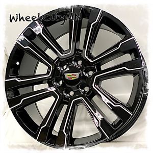 22 Inch Gloss Black Milled 2018 Cadillac Escalade Oe Replica Wheels 6x5 5 24