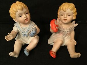 Vintage Bisque Arnart Piano Babies Twin Boy And Girl Figurines